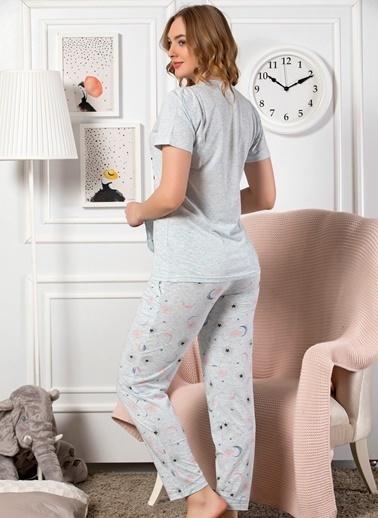 Strawberry Pamuklu Kısa Kol Pijama Takım Mavi